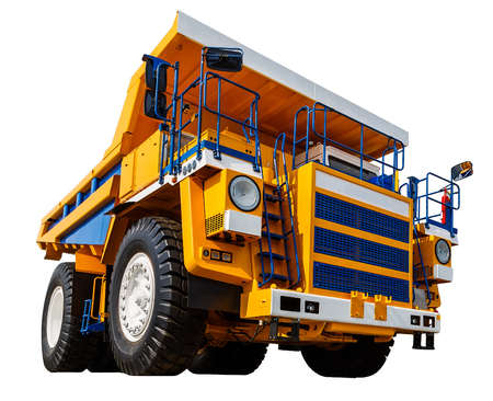 dumper: yellow Dumper industrial truck isolated on white background.
