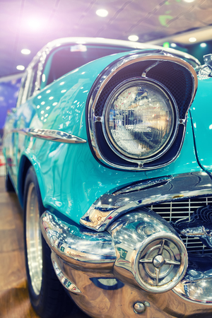 retro american car headlight close-up toning point of view 스톡 콘텐츠