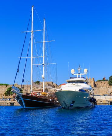 Luxury Yacht docked at Rhodes Port,Greece, sunny Stock Photo
