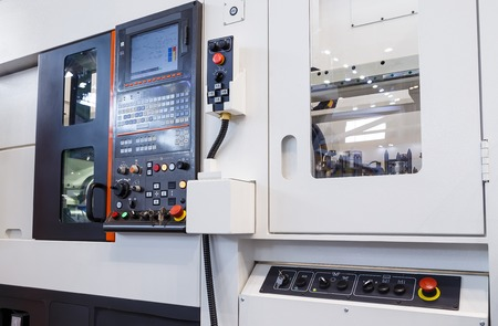 milling center: industrial equipment of cnc milling machine center in the tool manufacture workshop Stock Photo
