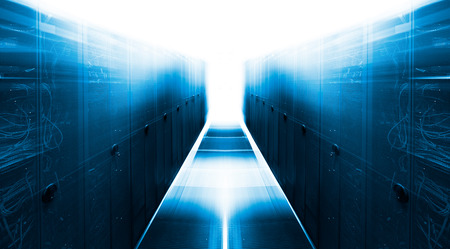 datacentre: symmetrical futuristic modern server room in the data center with a bright light