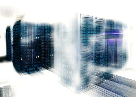 mainframe: binary code covers a portion of the mainframe in the data center