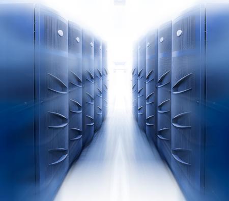 a modern server room symmetry ranks supercomputers light