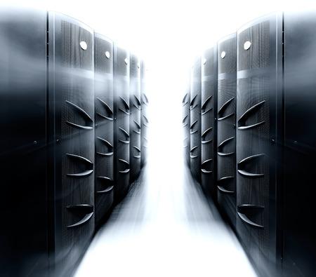 mainframe: server room with modern mainframe equipment in the data center