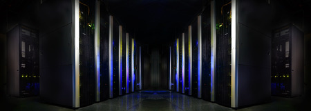 datacentre: symmetrical futuristic modern server room in data center with Stock Photo
