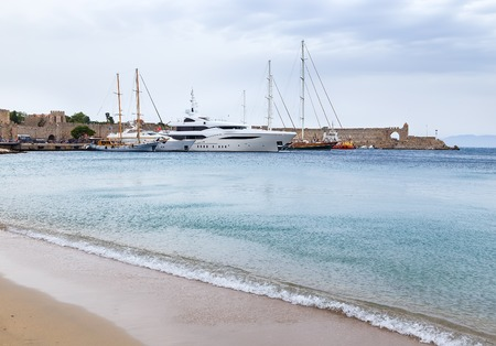 middle ages boat: Luxury Yacht docked at Rhodes Port,Greece, summer Stock Photo