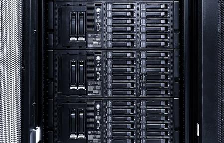 mainframe: disk storage blades in mainframe server room Stock Photo