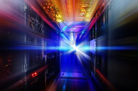 mainframe: light indicators and motion on mainframe data center in the dark