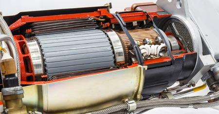 turbina de vapor: Internal rotor of a steam Turbine at workshop Foto de archivo