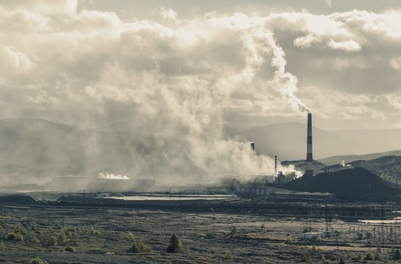 dumps: Copper mining plant and dumps Russia Karabash Stock Photo