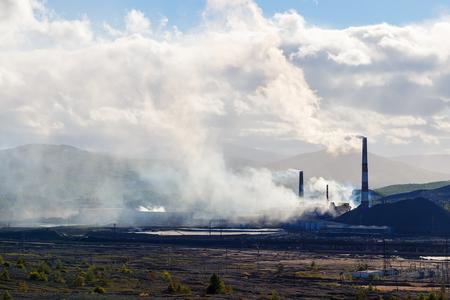 defilement: pollution of nature ecology. Industrial landscape in Karabash, Chelyabinsk region, Russia