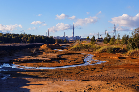 aftermath: Industrial desert - aftermath of ecological catastrophe. environmental disaster Stock Photo