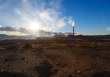 defilement: Industrial landscape in Karabash, Chelyabinsk region, Russia. environmental disaster