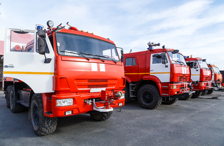 New Russian fire trucks are ready to fight with the forest fire.