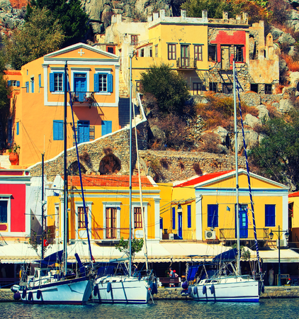 dodecanese: Beautiful summers day on the Greek island of Symi in the Dodecanese Greece Europe