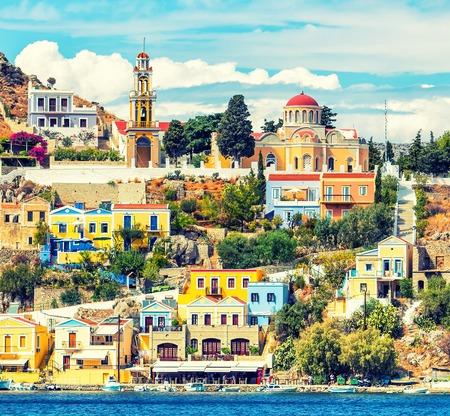The capital of the island of Symi - Ano Symi. Harani area. Greece