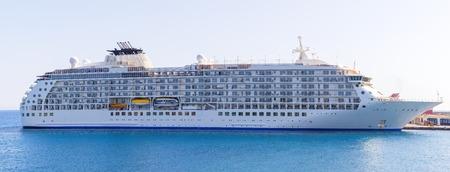 cruising: panorama of Luxury cruise ship in port of Rhodes Greece