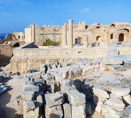 church ruins: Church ruins of Saint John on Acropolis of Lindos, Rhodes Island, Greece