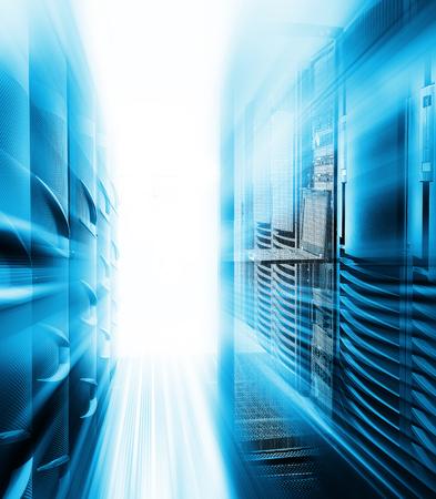 Rackmount Keyboard Monitor KVM Console among supercomputers with motiom 스톡 콘텐츠