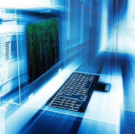 abstract server management terminal blur matrix binary code