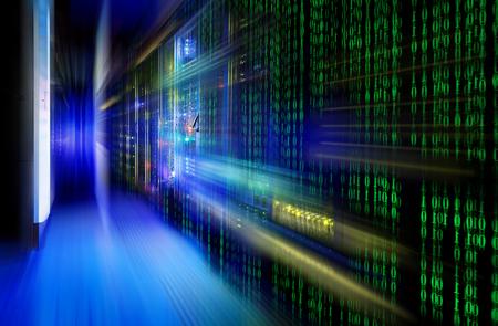 series mainframe in a futuristic representation of matrix code