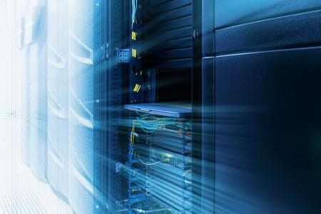 inside server room with rows of modern mainframes Standard-Bild