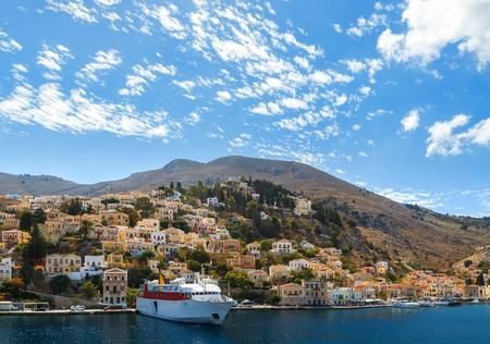 pictorial: Aerial panoramic view of the pictorial old port of Symi island Greece
