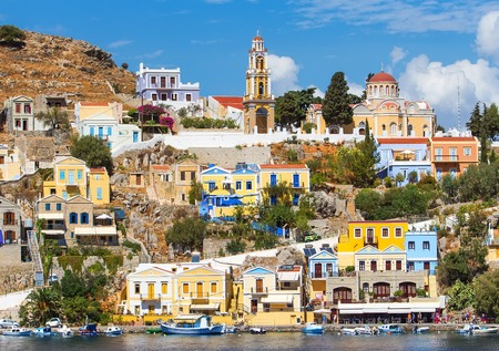 doll houses of Symi , Church chapel, on a Sunny summer day Stock Photo
