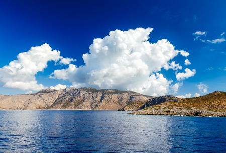 kefallonia: Blue sky and sea landscape with mountains clouds