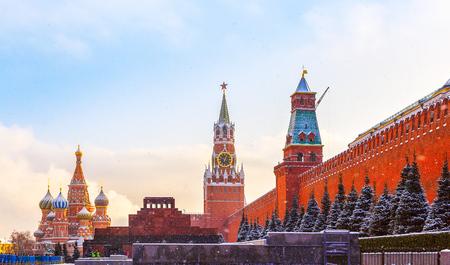 spasskaya: Kremlin wall Spasskaya Tower Mausoleum Red Square winter