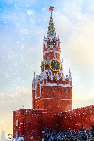 spasskaya: Spasskaya Tower Kremlin Moscow winter sunset over Red Square