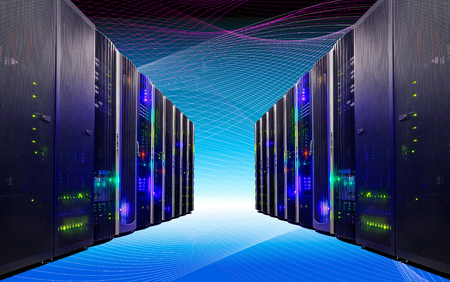 modern data center with a futuristic floor and ceiling Stock Photo