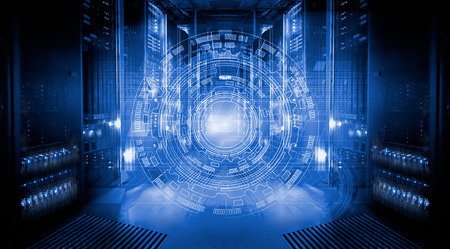 mainframe: fantastic view of the mainframe in the data center rows
