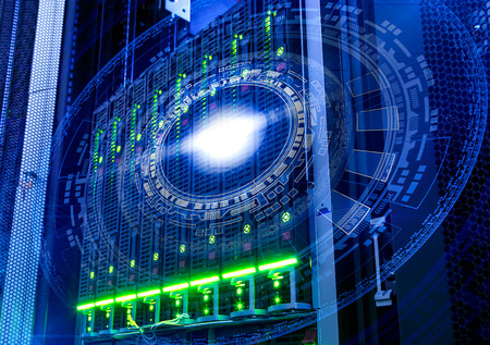 futuristic tech scheme on background fantastic symmetric number mainframes