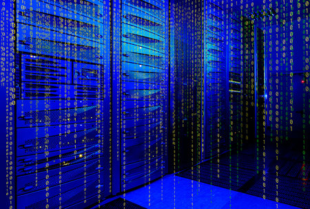 mainframe: series mainframe in a futuristic representation of a matrix code Stock Photo