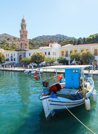 Boats in the harbor of Panormitis. Symi island, Greece Stock Photo