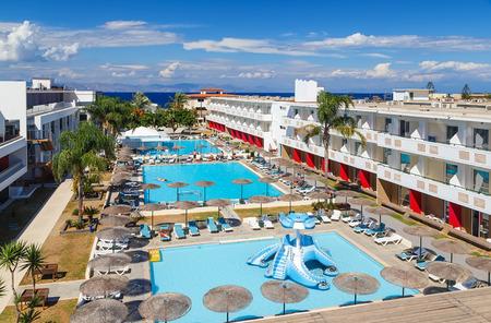 hotel resort: Swimming pool at modern european resort hotel Stock Photo