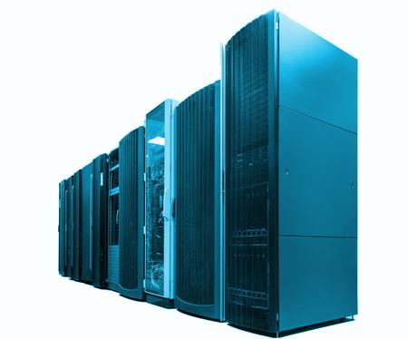 ranks modern supercomputers in computational data center isolate, blue tone
