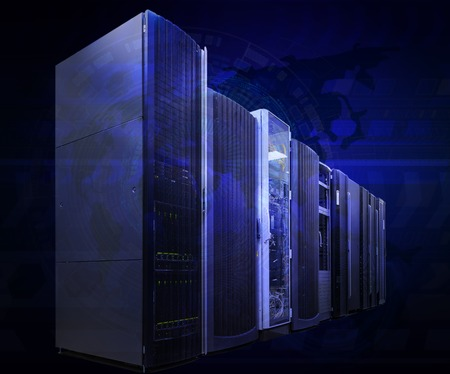 futuristic tech scheme on background mainframe of server room in data center