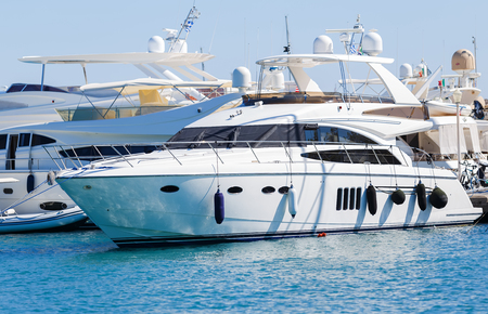 luxury yacht in Dodecanese island of Rhodes, Greece.