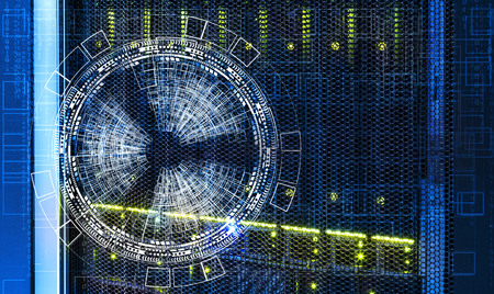abstract futuristic background over the disk storage of the supercomputer