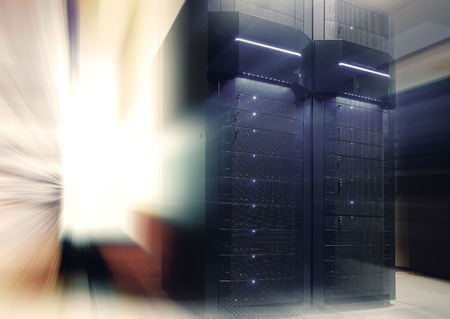 futuristic modern server room in data center with light blur and motion
