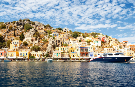 largest ship in port of Symi. pictorial Greece series- Symi island, Dodecanes