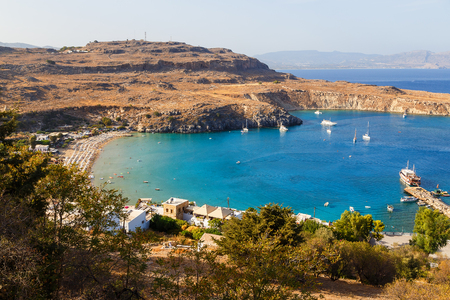Beautiful day overlooking on main beach at Lindos on the Island of Rhodes Greece Stock Photo