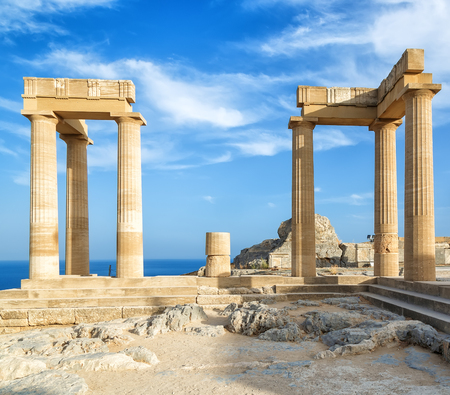 Landscape with ancient Roman time columns at Lindos in Greece Europe.