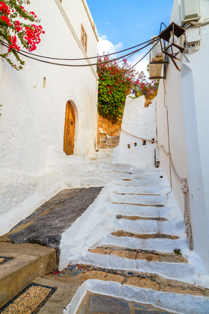 The door and house in village of Lindos in Rhodes, Greece Stock Photo