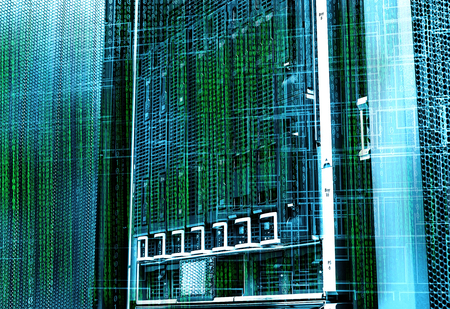 hi speed: concept of disk storage data center. Information technology and database on technological background Stock Photo
