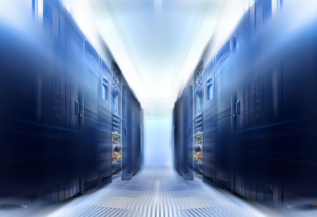 symmetrical data center room with rows of equipment Blur and motion
