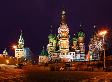 Night view of Moscow Red Square, St Basil Temple and Spasskaya Tower of Kremlin Stock Photo