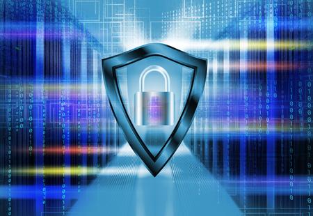 バイナリ コードの突き通ることによってデータのサーバー ルーム。安全セキュリティ コンセプトを保護シールドと南京錠。